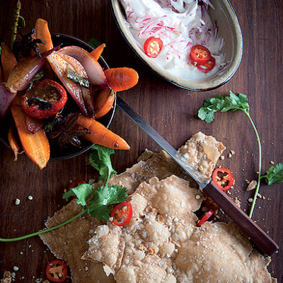 Curried pickled vegetables with sea-salt bubble bread