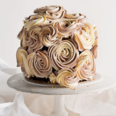 Dense white chocolate cake with buttercream roses