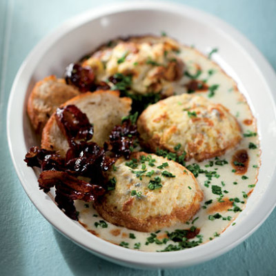 Double-baked cauliflower souffle with Cheddar and Gorgonzola sauce