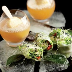Earl Grey tea and passion fruit floats with vegetable glass rolls and lime and green chilli dip