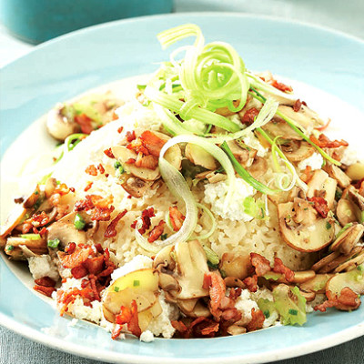 Easy baked risotto with mushroom and celery salad