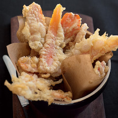 Easy tempura carrot slivers and soya sauce