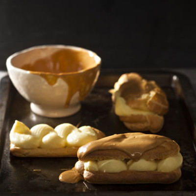 Eclairs with lemon custard and caramelised white chocolate