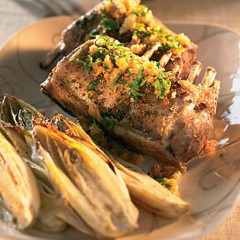 Fast roast rack of lamb with roast chicory