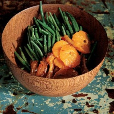 Fine french beans with Moroccan spiced dates and mandarin