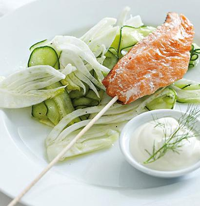 Fish on a stick with shaved fennel and cucumber salad for Fish on a stick