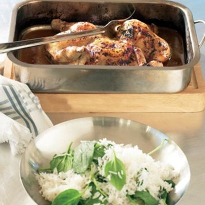 Flat-roast tamarind and citrus chicken with spinach-basmati rice