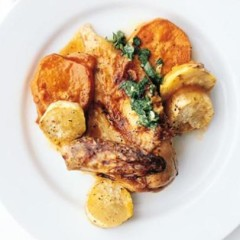 Flat-roasted organic chicken on sweet potatoes