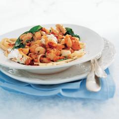 Florentine of scallops on lemon minted spaghetti