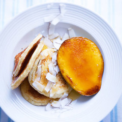 Fluffy coconut crumpets with mango brulee