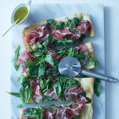 Foccacia with herb salad and torn coppa