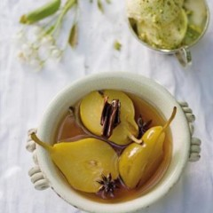 Fragrant spice and verjuice poached pears with pistachio mascarpone