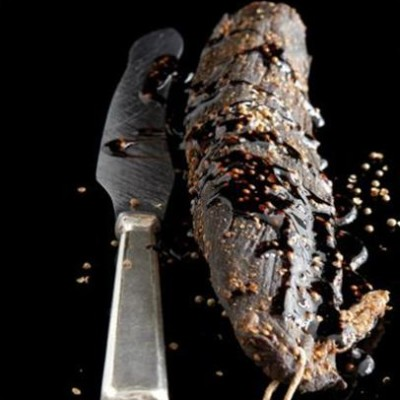 Free-range beef biltong with cognac and balsamic syrup