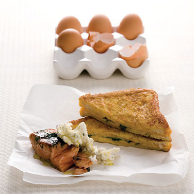 French-toast sandwiches with seared salmon and boursin