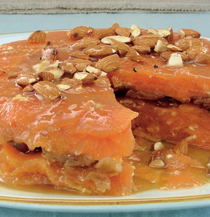Fresh Orange And Date Cake With Raw Almonds And Moroccan