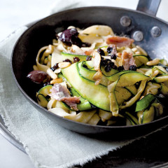 Fresh pasta tossed with baby marrow, anchovies and olives
