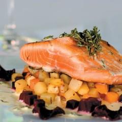 Fresh salmon steak with sour cream and lemon thyme
