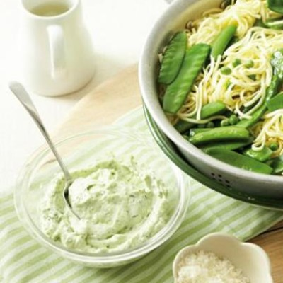 Fresh tagliolini with assorted peas and whipped white cheese sauce