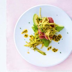 Fresh tuna carpaccio with a green mango, avocado and granadilla salad