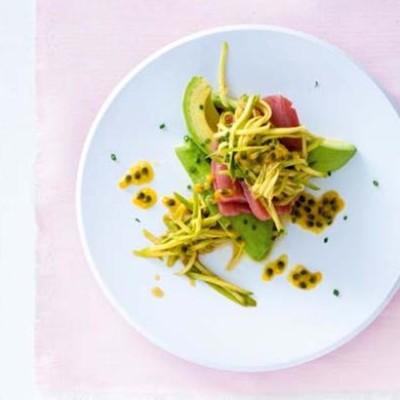 Fresh tuna carpaccio with a green mango, avocado and granadilla salad