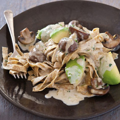 Fresh wholewheat pasta tossed with panfried mushroom, ripe avo and cream