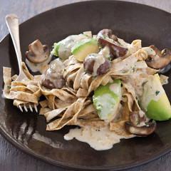 Fresh wholewheat pasta tossed with panfried mushroom, ripe avo and cream