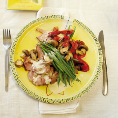 Gammon with mustard sauce and ginger-and-sesame-roasted vegetables