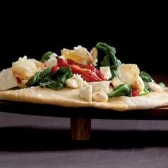 Garlic, spinach and feta flatbreads