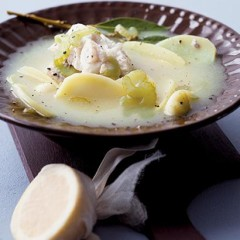 Gently poached white fish in a white wine and potato broth