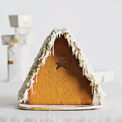 German white-and-gold gingerbread house