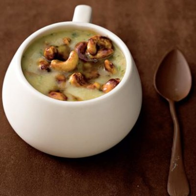 Gingered sweet-potato soup with soy cashews