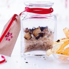 Glass jars of smoked truffle salt
