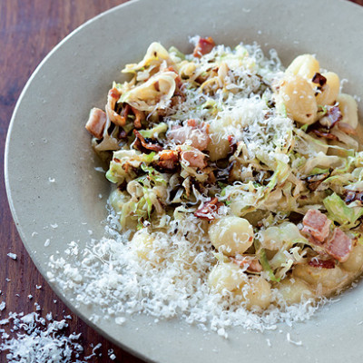 Gnocchi with a creamy cider and bacon sauce