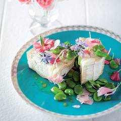 Goats cheese with mustard, carnations and broad bean vinaigrette