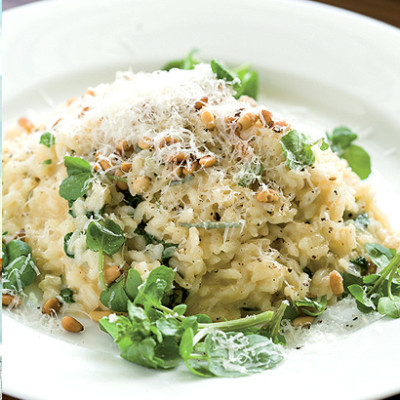 Gorgonzola and watercress risotto with toasted pine nuts