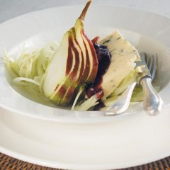 Gorgonzola, pear and fennel salad with fig, star anise and muscadel coulis