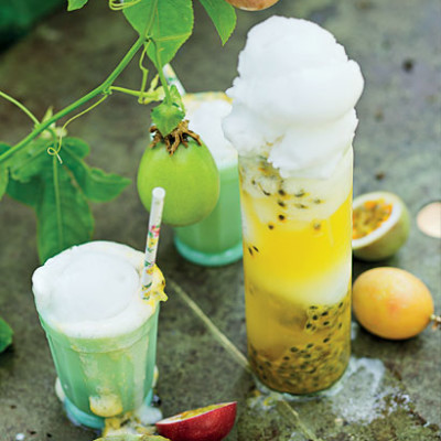 Granadilla cordial and lemon sorbet floats