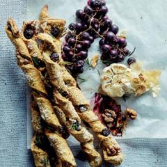 Grape, walnut and rosemary breadsticks