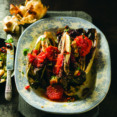 Grapefruit and grilled radicchio salad with garlic-and-chilli dressing