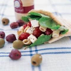 Greek pasta salad-filled pita breads