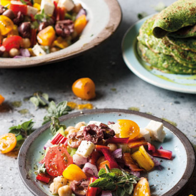 Greek salad with spinach-and-nutmeg crepes