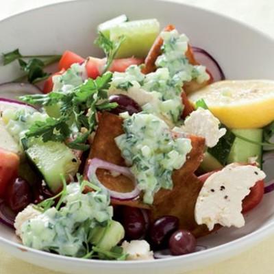 Greek summer salad with toasted pittas