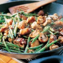 Green bean and mushroom stir fry