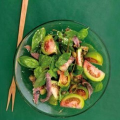 Green tomato salad with anchovy and sesame dressing