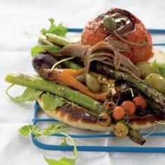 Griddled pesto vegetables on pitta