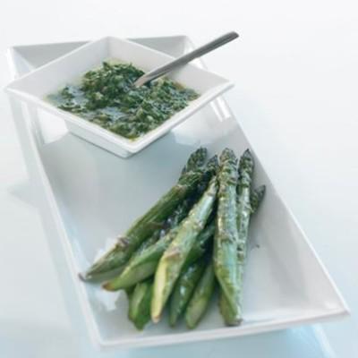 Grilled asparagus with Italian salsa verde