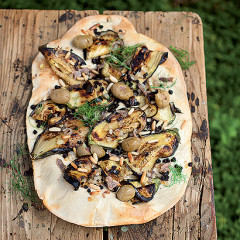 Grilled brinjal, pine nut and anchovy bubble bread