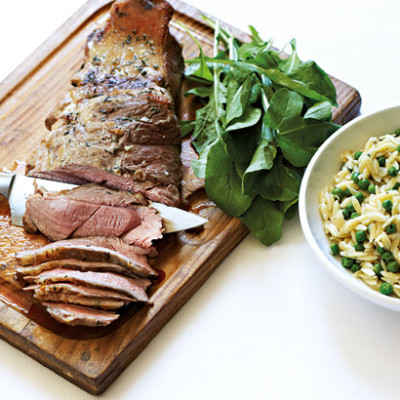 Grilled butterflied lamb with rosmarino pilau