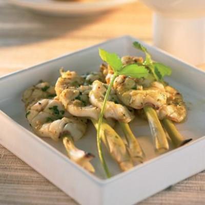 Grilled calamari in a coconut curry marinade