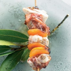 Grilled chicken, pancetta and dried apricot skewer